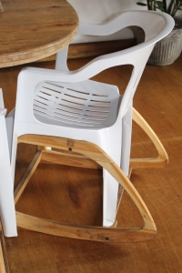 A $5 chair with teak rockers attached. LOVED IT!!