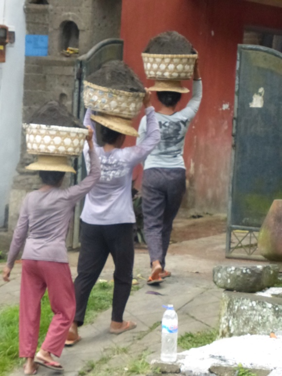 It was fascinating to watch this female trio strategize how to get these heavy baskets of dirt on their heads. They then walked off up the hill in stately grandeur and unison.